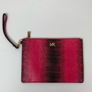 Michael Kors Pink Snakeskin Wallet Leather Clutch